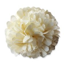 6cm Marigold PomPom CREAM Fabric Flower Applique
